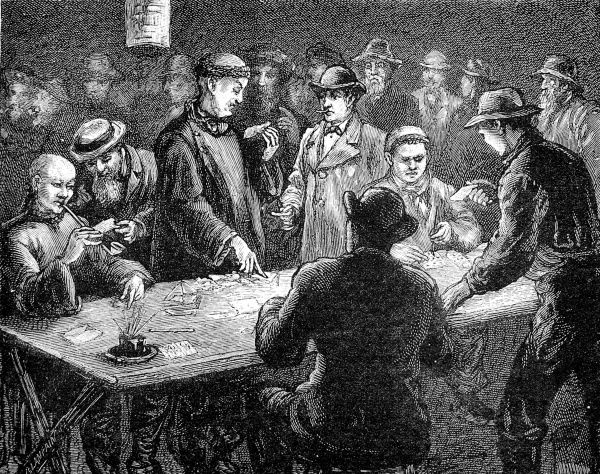Engraving showing a group of Chinese men, in traditional clothing, and white Americans gambling, San Francisco, 1884