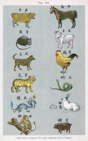 The 12 creatures of the Chinese zodiac positioned in opposing pairs