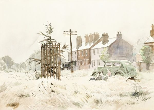Chipperfield Common, Hertfordshire. Watercolour painting by Raymond Sheppard