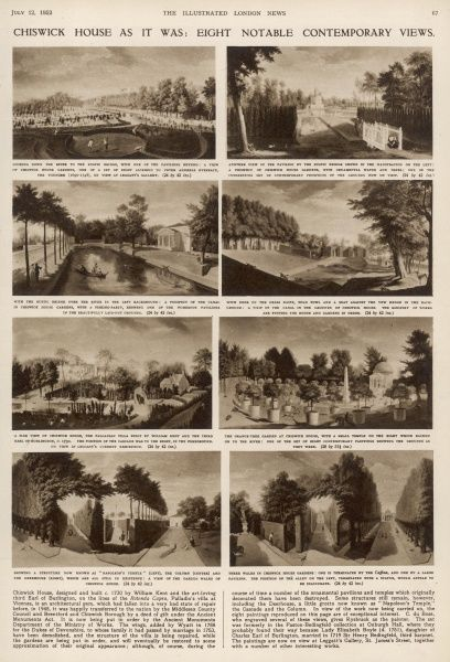 Chiswick House as it was: eight notable contemporary views. A page from the Illustrated London News featuring engravings of Chiswick House and gardens after the 18th-century painter Rysbrack