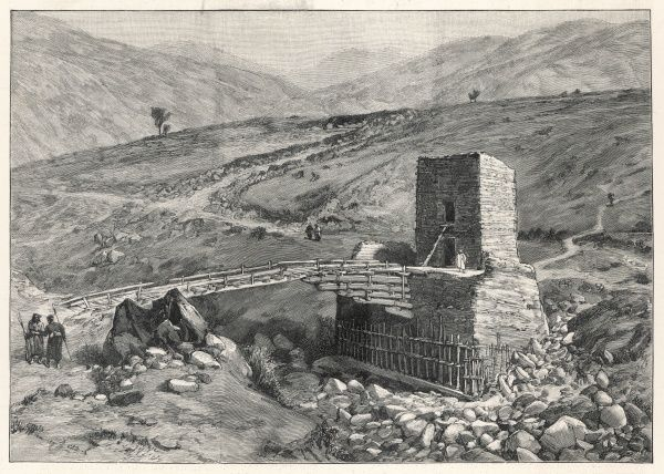 "The bridge at Chitral. Major Biddulph states that ""half a mile above the fort is an excellent bridge protected by a stone tower at each end."" One tower is shown here"