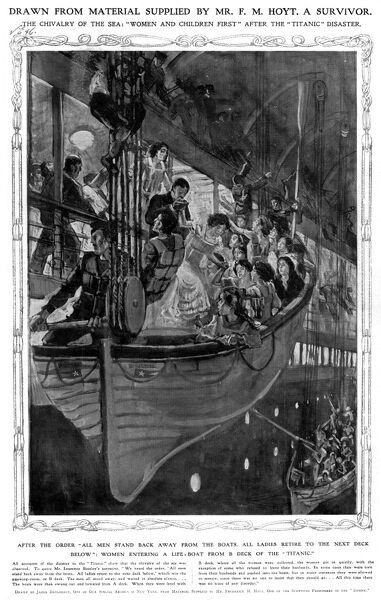 An illustration showing women getting into the lifeboats from B deck of the Titanic. Date: 4th May 1912