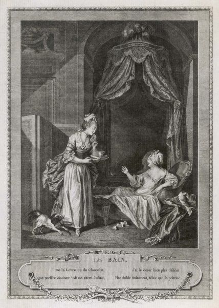 A French lady takes her bath (partly clothed) while her maid bringing in a tray offers her the choice of the drink of chocolate or the love letter