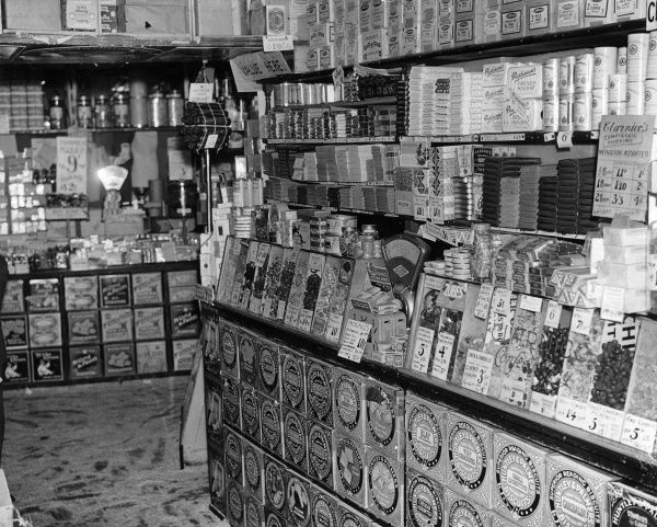 Photograph showing the display of chocolates at 'Barbers' in New Bridge Street, London, c.1930