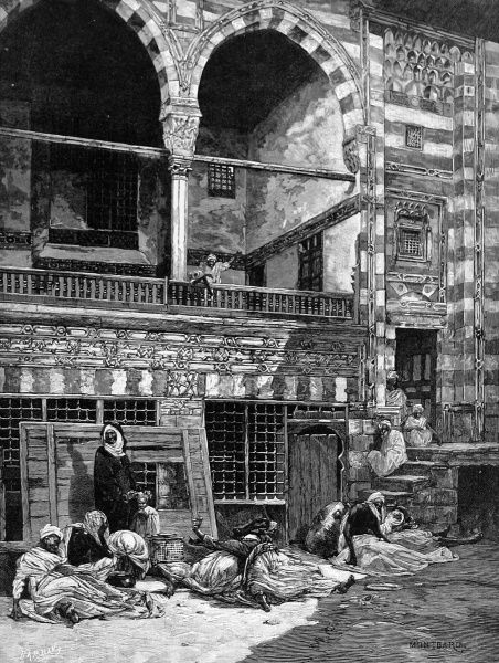 Scene in the courtyard of a house in Cairo