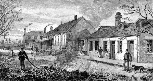 A sketch of the sailors' hospital. Fires were used to prevent the infection spreading from the hospital