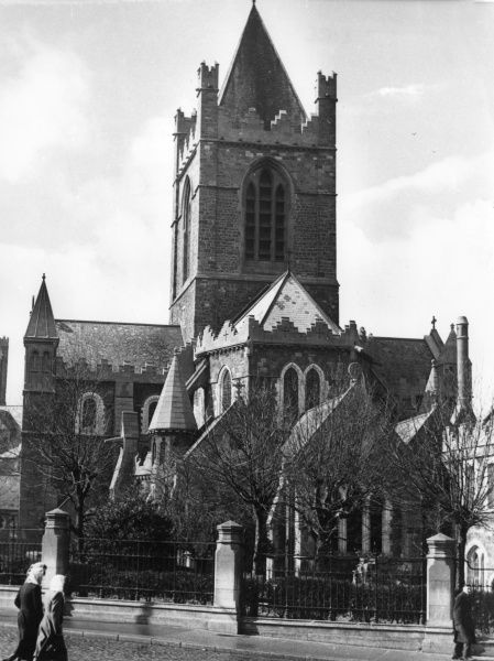 Christ Church Cathedral, Dublin, Ireland, was founded by Sitric, the Danish King of Dublin. The present structure was built between 1871 and 1878 (Medieval interior). Date: founded 1038