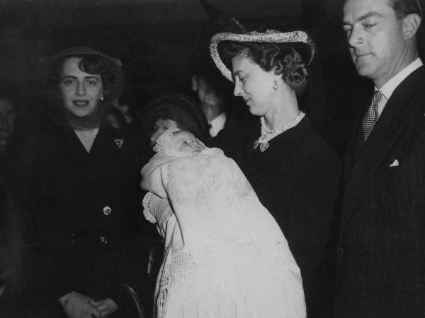 Christening of Richard Brandram (born 1 April 1948), son of Lady Katherine Brandram, formerly Princess Katherine of Greece, youngest daughter of King Constantine of Greece. Picture shows Lady Katherine on the left, and Princess Marina, Duchess of Kent
