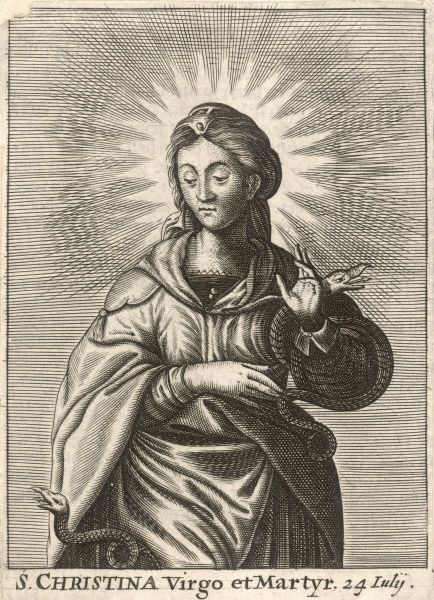 SAINT CHRISTINA DE BOLSENA Italian girl who vexed her father by throwing out his pagan images : she was saved when he threw her into a lake, but was martyred none the less