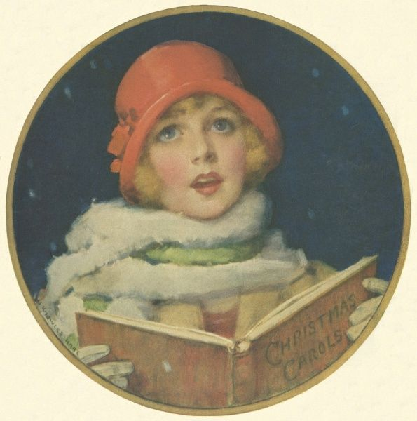 Charming illustration showing a young girl wearing a red, cloche hat singing angelically from a book of Christmas carols