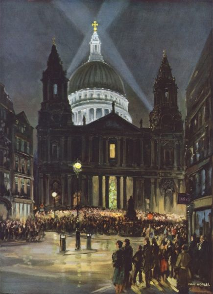 Festive scene showing crowds assembled around St. Paul's Cathedral in the City of London to sing Christmas carols