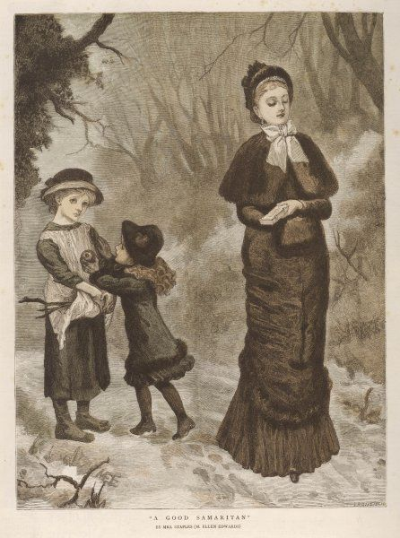 Out walking with her mama, a girl sees a poor girl collecting firewood and gives her an apple
