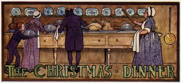 Preparing the Christmas dinner - cook and servants busy in the kitchen Date: early 19th century