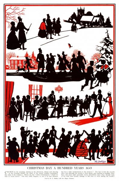 Charming silhouettes cut by H. L. Oakley depicting a traditional Victorian Christmas. The morning begins with a visit to church, followed by skating on a frozen pond. Then a jolly Christmas lunch complete with spherical Christmas pudding and finally