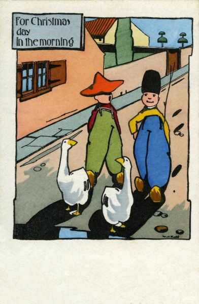 For Christmas day in the morning -- two boys drive two white geese down the street.  20th century