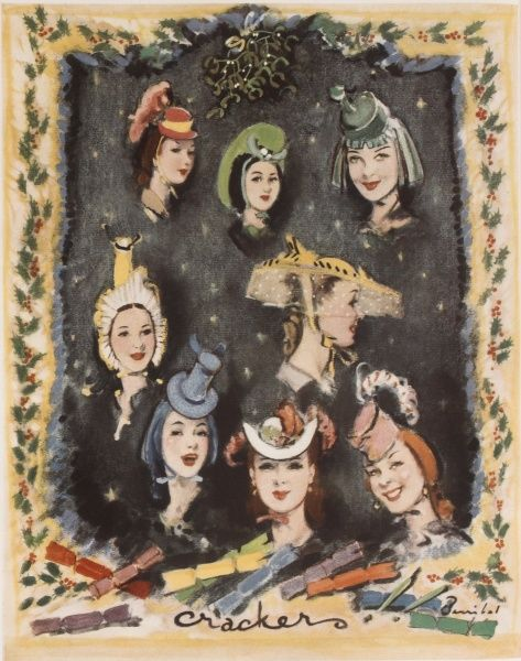 A montage illustration featuring various young women wearing an array of hats and bonnets captioned crackers