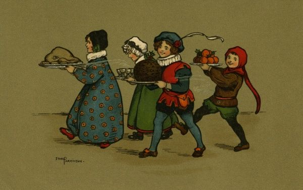 Christmas dinner carried in by four children dressed in medieval costume. There is a large turkey, glasses of steaming punch, a large round pudding, and a plate of fruit.  early 20th century