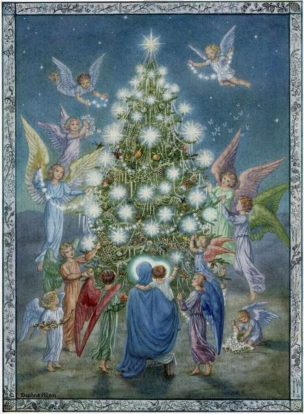 Illustration from a 1951 issue of the ILN, showing a Madonna & Child in front of a Christmas tree being decorated by angels