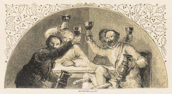 A group of drinkers raise their glasses in a toast