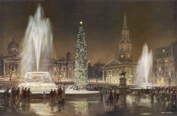 Festive scene showing Trafalgar Square in London on Christmas Eve, with crowds gathered around the huge Christmas tree and fountains. The National Gallery and St. Martin's in the Field church can be seen illuminated in the background