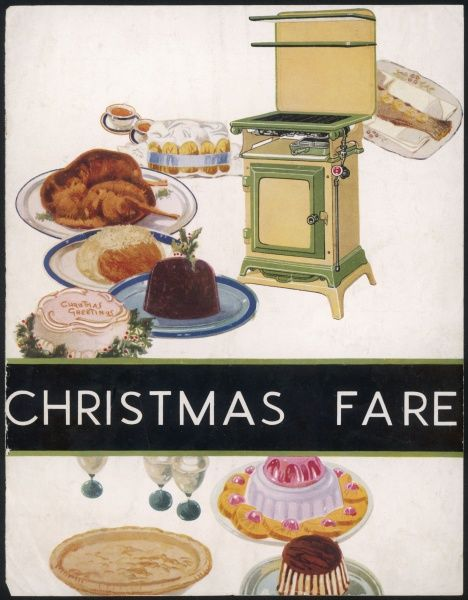 A wonderful spread of Christmas fare, including turkey, pudding, cake and of course, the most modern cooker of the day