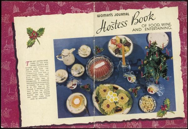 A festive spread of Christmas fare, including strawberry cream, orange souffle and turkey and sweet corn salad