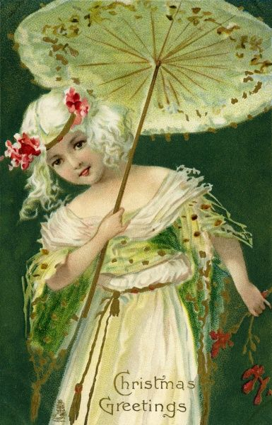 Christmas Greetings -- girl with a parasol.  20th century
