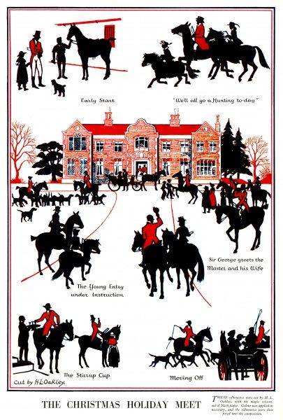 A series of silhouettes by H. L. Oakley depicting the meeting of a hunt at Christmas time, from the early start to enjoying the stirrup cup and moving off