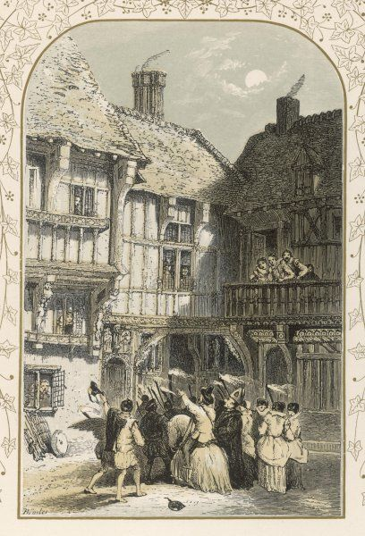 Mummers perform in the courtyard of an Elizabethan manor house