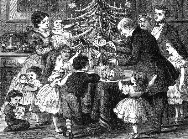 Only a small tree but lots of presents for the children being handed out from the tree Date: 1868