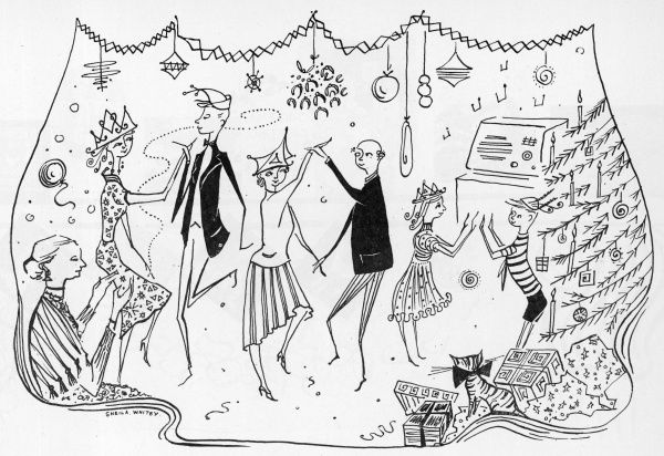 A family enjoy an intimate party at Christmas, dancing together to a radio in the corner. A Christmas tree and mistletoe add to the festive scene