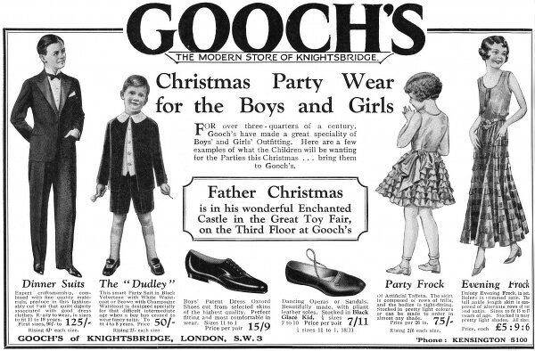 Advertisement for Gooch's of Knightsbridge featuring some Christmas party wear outfits for girls and boys, from a miniature dinner suit on the left, to a party frock of artificial taffeta. Date: 1930