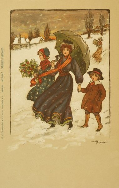 A lady and two children, girl and boy, walk down a snowy hill. The lady is sheltering from the falling snow under a large umbrella. The girl carries a bunch of holly. Date: early 20th century
