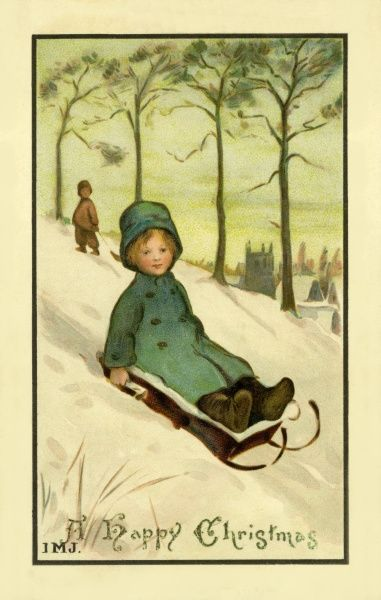 Christmas. On a sledge. Artist: Ivy Millicent James. Child on sledge hurtling down an icy slope Date: circa 1910
