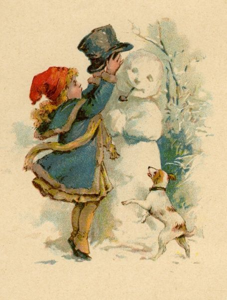 A small girl wrapped up against the cold, adds the finishing touch to her snowman - an old, but still jaunty top hat