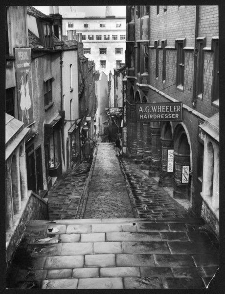 A rainy day on Christmas Steps, Bristol, England. This old thoroughfare probably took its name from a Christmas charity, which was formerly dispensed from here