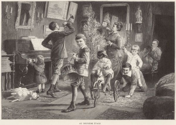 A chaotic but merry scene depicting a family at Christmas. The children, all very energetic and excited, play musical instruments, help decorate the tree and play games. The father watches from a safe distance, quite content in his quiet corner