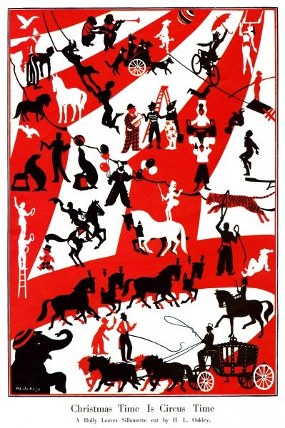A lovely silhouette cut out showing a jolly circus scene including horses, clowns, seals, tigers jumping through hoops, performing dogs and monkeys, an elephant and trapeze artists