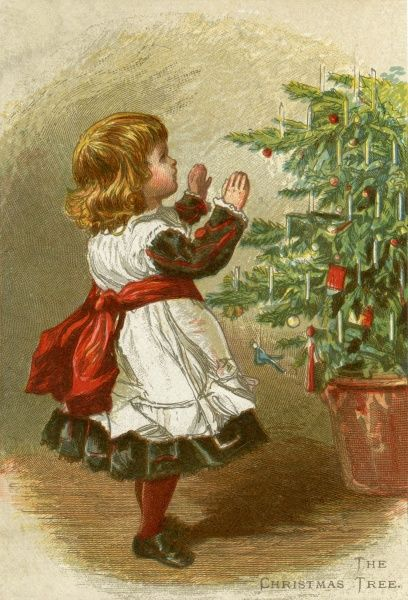 A small girl raises her hands in delight as she discovers a Christmas tree twinkling with candles and festooned with gifts