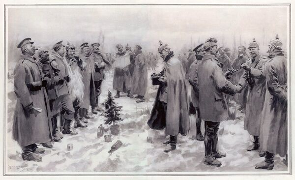 British and German troops fraternise on the field of battle on Christmas Eve, greeting each other and exchanging goodwill, and are even photographed together