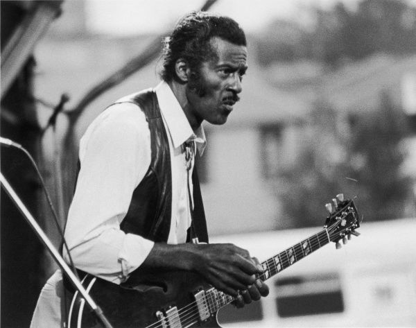 Chuck Berry was a founding father of rock & roll music; one of its greatest singers, songwriters and performers, without whom popular music would be very different. Seen here performing at the Penwith Rock Concert, Penzance, Cornwall