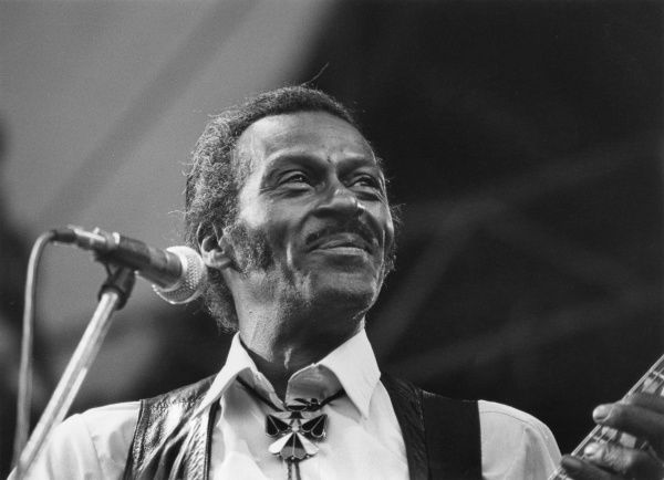 Chuck Berry was a founding father of rock & roll music; one of its greatest singers, songwriters and performers, without whom popular music would be very different. Seen here on stage at the Penwith Rock Concert, Penzance, Cornwall