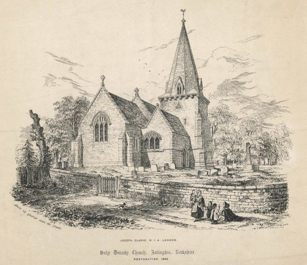 Holy Trinity Church, Ardington, Berkshire after restoration work carried out by Joseph Clarke in 1846. Included in the drawing is the churchyard & graves