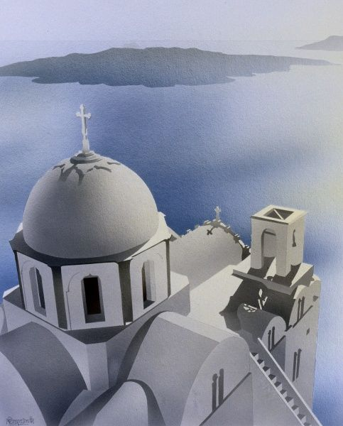 A church building in Greek Orthodox style overlooking a calm blue sea