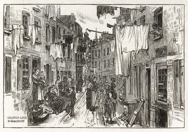 Street scene in Church Lane, Bloomsbury, London - mothers and children