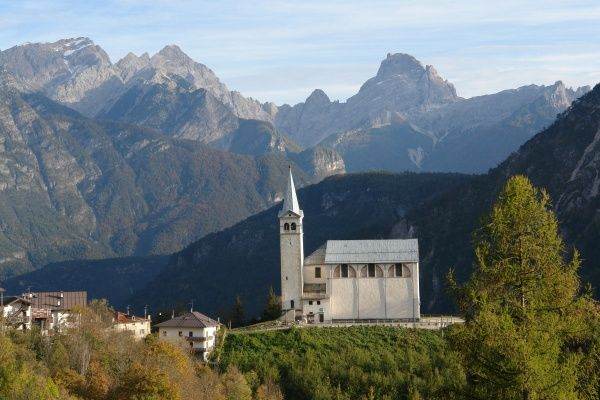 A church in the municipality of Pieve di Cadore, in the Province of Trento (Trentino), in northern Italy