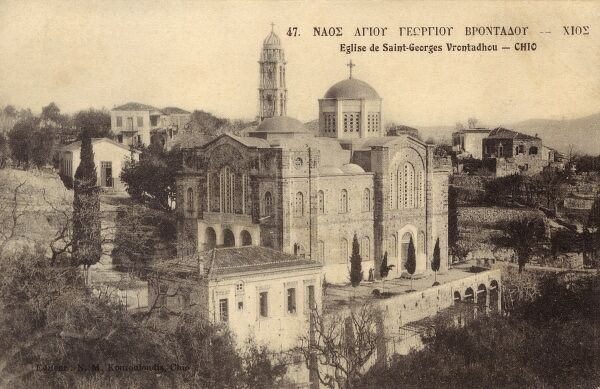 The Church of St George at Vrontados - a small coastal town located at the eastern part of the island of Chios in Greece (just north of Chios Town), which lies just off the coast of Asia Minor only seven kilometres from Turkey. Date: circa 1910s