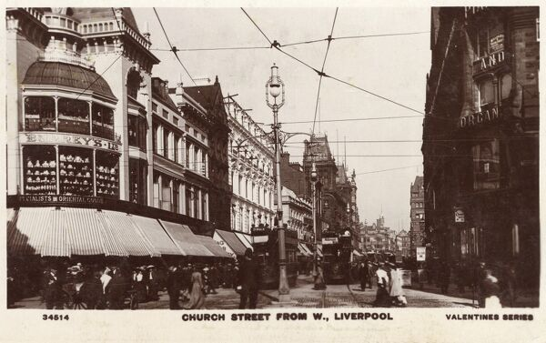Church Street (viewed from the west), Liverpool, Merseyside Date: 1907