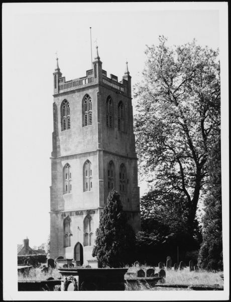 The church tower at St Mary's Church, Berkeley, Gloucestershire. Date: 1950s