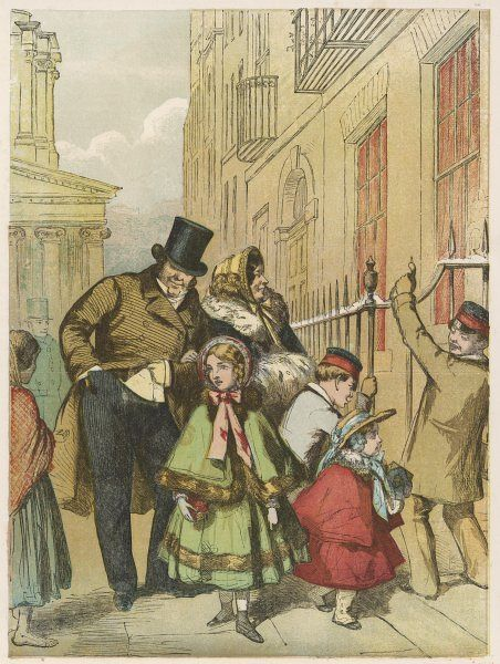 A comfortably-off London family returns from church to their Christmas dinner: Papa is charitably disposed towards a barefoot girl Date: 1855